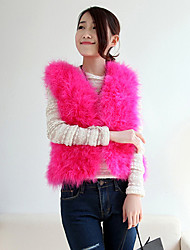 Sleeveless Collarless Ostrich Fur Casual/Office/Party Occasion Jacket(More Colors)