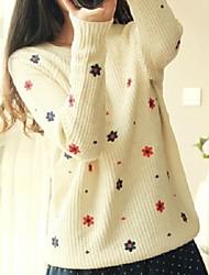 Women's Blue/Red/Purple/Beige Pullover , Casual/Cute Long Sleeve