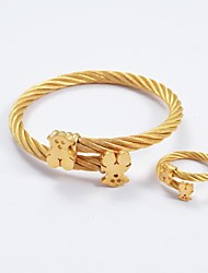mode bracelet d'ours des bracelets et des pointes en acier de titane bagues en or ensembles de bijoux
