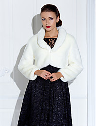 Coats/Jackets Long Sleeve Faux Fur White / Ruby Party/Evening / Casual 30cm T-shirt Clasp