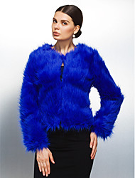 Long Sleeve Collarless Faux Fur Casual/Party Jacket(More Colors)