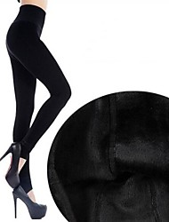 Women's Winter Solid Color High Waist Thick Fleece Lined Leggings