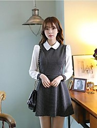 Women's Work Dress,Color Block Above Knee Long Sleeve Multi-color Fall