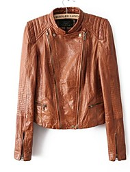 Women's Fashion Stand Collar Double Zipper Long Sleeve Leather Jacket