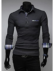 Fengshang Men's Check Pattern Polo Shirt