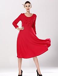 otoño de cuello redondo retro lazo rojo vestido de alta cintura de las mujeres vestido de manga larga de encaje de gasa color sólido de la cintura de