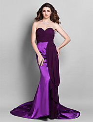 TS Couture Formal Evening Dress - Color Gradient Trumpet / Mermaid Sweetheart Court Train Stretch Satin Georgette with Criss Cross Ruching