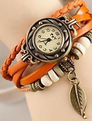 Mulheres Relógio de Moda Quartzo Couro Banda Cores Múltiplas Café Vermelho Verde Azul Rosa claro
