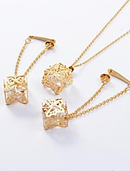 Fashion Gold Titanium Steel Hollow Out Butterfly CZ Diamond Inside (Necklace&Earrings) Jewelry Set