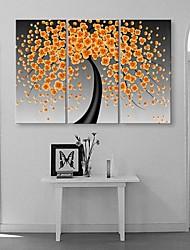étirées fleurs de bonheur sur toile abstraite fleurit ensemble de trois de peinture