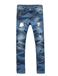jeans homens design buraco moda casual