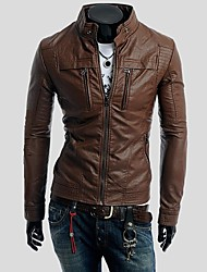 Men Minimalist  Collar Motorcycle Leather Jackets