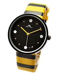 Women's Cute Bee Hand Flower Inlaid Hour Yellow-Black Stripe Band Quartz Wrist Watch Cool Watches Unique Watches