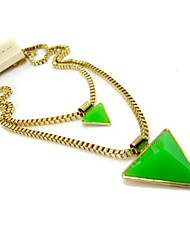 Sally Women's Fashion Three-dimensional Geometric Triangle Gem Double Sweater Necklace Chain Jewelry