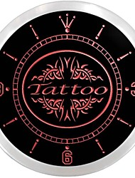 OPEN Tattoo Body Piercing Display Neon Sign LED Wall Clock