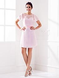 Knee-length Chiffon Bridesmaid Dress Sheath / Column Jewel Plus Size / Petite with Sash / Ribbon / Ruching