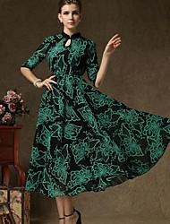 totemttemperament elegante stile retrò collare finto cinese delle donne con collo alto abito manica vestito dalla vita caduta