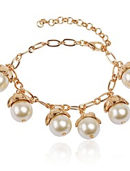 Women's Fashion Luxury White Beads Golden Floral Stylish Chunky Statement Bracelet
