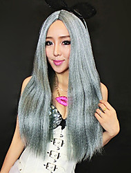 Long Straight Hair 50cm Gray Synthetic Fiber Women's Halloween Party Wig