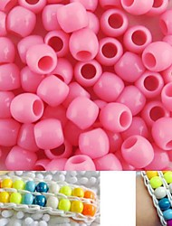 100pcs environ 8x9mm rose nacré perles de poney couleur arc-en-métier bracelet accessoires de bricolage