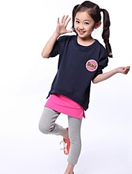 Girl's Star Tag Zipper Hem Tee and Culottes Clothing Sets