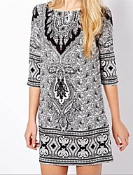 Women's Going out Vintage Shift Dress,Print Round Neck Mini ¾ Sleeve Multi-color All Seasons