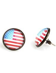 round bandera americana de bronce antiguos pendientes