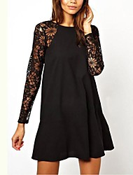 Women's Fashion Sexy Hot Lace Stitching Round Collar Dress