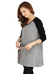 Maternity's Fashion Leisure Simple Long Sleeve Maternity Dress