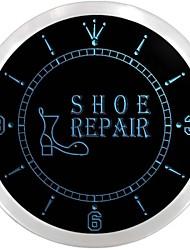 chaussure ouverte signe atelier de réparation de néon led horloge murale