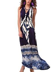 Women's Beach A Line Dress,Print Halter / Deep V Maxi Sleeveless Pink / Black Summer