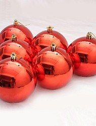 6 pcs Christmas Decorations Hanging Drop Shining Plating Balls (Φ=8cm)
