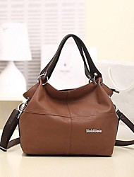 Women's Candy Color PU Leather Patchwork Vintage Handbag Totes