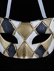 back-to-antico jazz maschera in bianco e nero e oro reticolo ps mezza faccia halloween party