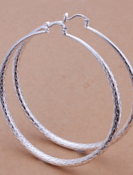 Hoop Earrings Brass Silver Jewelry 2pcs