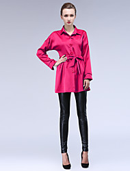 Women's Casual Long Sleeve Coats & Jackets (Polyester)