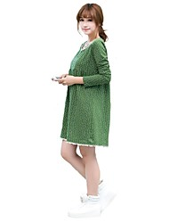 Maternity's Fashion Leisure Dot Printed Long Sleeve Maternity Dress