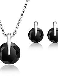 conjunto de jóias clássico Vivid Black ródio zircônia cúbica banhado conjuntos de jóias para as mulheres
