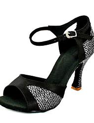 Customizable Women's Dance Shoes Latin Leatherette Customized Heel Purple/White/Silver/Gold