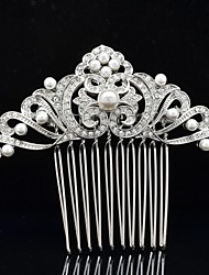 8.5cm Rhinestone Hair Comb Tiara Imitation Pearl Wedding Bridal Jewelry for Party