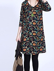 Women's Casual/Daily Cute Loose Dress,Print V Neck Above Knee Long Sleeve Multi-color Spring / Fall / Winter
