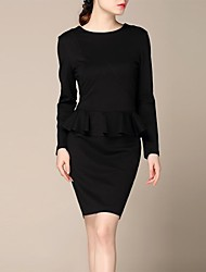 lifver® de manga larga vestido falso de dos piezas falbala negro de las mujeres