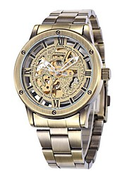 Men's Bronze Skeleton Dial Steel Band Automatic Self Wind Wrist Watch