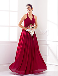 Lanting Bride® Floor-length Georgette Lace-up Bridesmaid Dress - A-line V-neck Plus Size / Petite with Criss Cross
