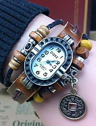 Women's Retro High Quality Coins Leather Quartz Movement Bracelet Watches