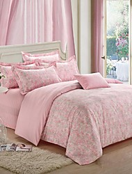 H&C ®  Thicken Cotton Sanded Fabric Duvet Cover Set  4 Pieces Flower Pattern Pink Multi-Color