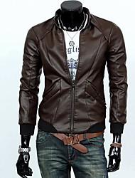 chaqueta de cuero delgada tendencia del equipo del otoño de los hombres de la chaqueta locomotora