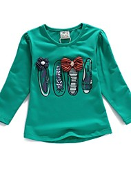 Girls's Spring And Fall Audel Fabric long Sleeve Thin Cartoon Elastic Shirts