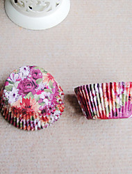 Blossoming Floral Pattern Cupcake Wrappers-Set of 50