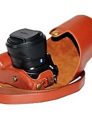 dengpin® Leder Kamera Tasche Schutzabdeckung Litschi-Muster mit Schultergurt für Sony Cyber-shot DSC-RX10 RX10